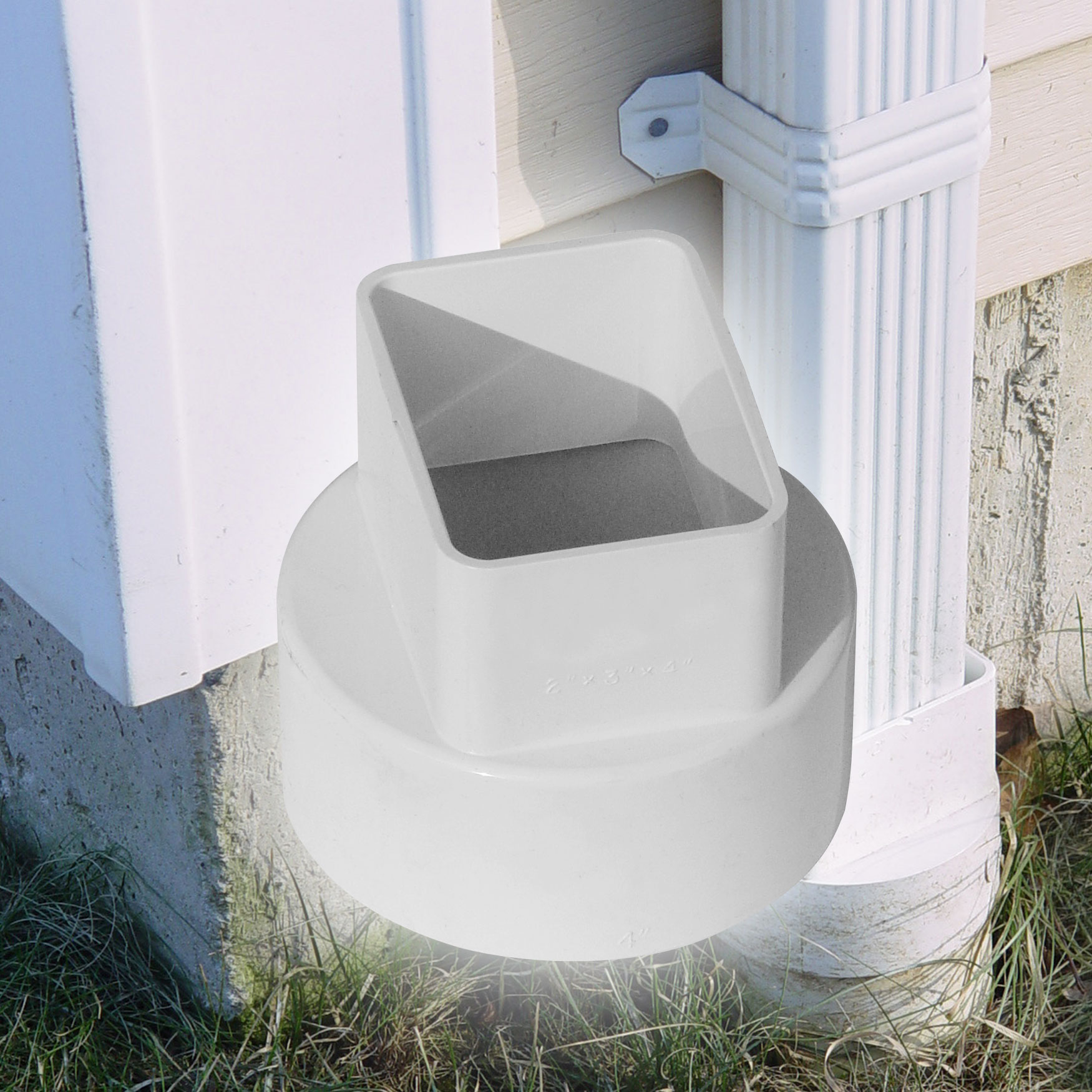"""3"""" Down Spout Adapters – Centered"""